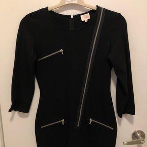 Parker black dress with zipper detailing